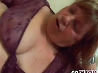 Big tits granny enjoys fucking in..