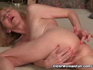 Skinny grandma Bossy Rider strips off..