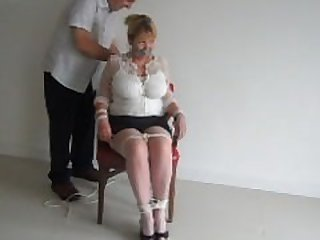 chair tied mature blonde
