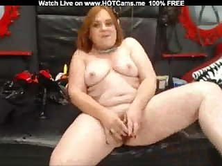 Chubby Redhead Mature Playing With Dildo