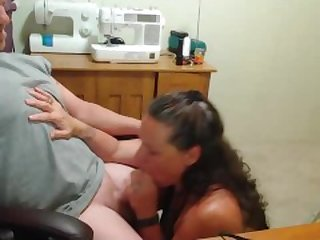 Old mom office blowjob