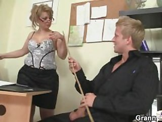 Office Mature in White Stockings Riding..