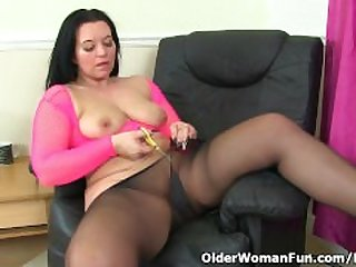British milf Louise Bassett is fingering..