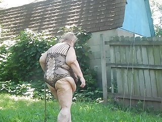 outside showing off in garden