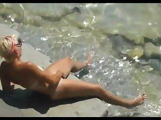 mom at seaside..