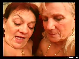 Lesbian grannies kissing and licking..