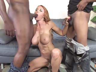 Gorgeous mature mom fucks two blacks