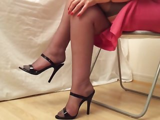 black heels and rht stockings