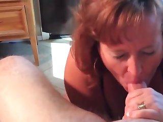 Mature Dawn sucks her boyfriends cock