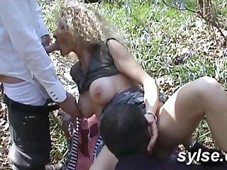 Gangbang in forest and orgy in disco..