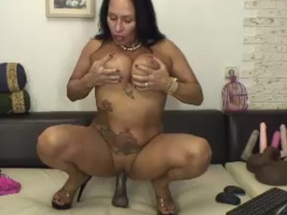 Hot, horny 50 year old Latina MILF rides..