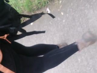 public cum leggins mature