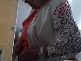 Voyeur mature MILF undressing 4