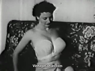 Gentle Girl Undressing and Posing (1950s..